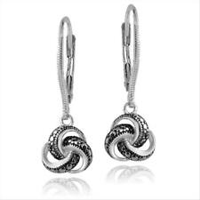 925 Silver Black Diamond Accent Love Knot Dangle Leverback Earrings