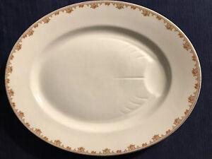 HUGE Antique 1930 Bernardaud Limoges Porcelain Floral & Gilt Platter Runnels