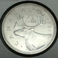 1991 Canada 25 Twenty Five Cents Quarter Canadian Uncirculated Coin D888