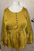"""Nanette Lepore Yellow Gold Blouse Top Size 8 36"""" Bust Polyester 3/4 Sleeves EUC"""