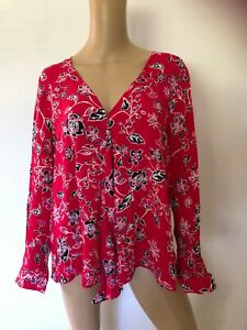 SUSSAN long sleeve V-neck multi-coloured floral  top blouse 18 as new