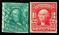 US Stamps SC#314, 320 1c Franklin & 2c Washington Imperforate Used CV:$36.5