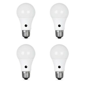 Feit Electric 60W Equivalent Soft White A19 LED Dusk to Dawn Light Bulb (4-Pack)