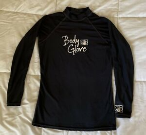 BODY GLOVE XL 14 UVP 50 Youth Girls Black long sleeve swim surf RASH GUARD