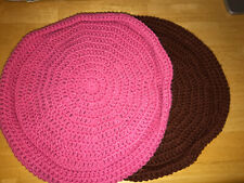 Handmade Crochet Round Cat Bed Pink And Brown Set Of 2