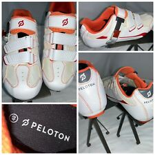 Peleton Cycling Shoes Sz 9.5 10 Women 6.5 7 Men White Orange Worn 1x YGI I0S-170