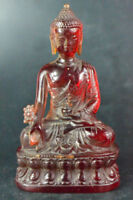 CHINESE COLLECTIBLE OLD RESIN AMBER HANDWORK CARVE BUDDHA SIT LOTUS STATUE