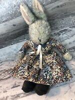 "Vtg Little Folk Plush Bunny In Floral Dress - G Mcbride -Tiverton UK 20"" #1080"