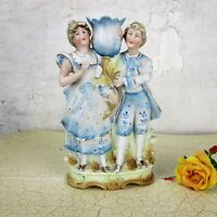 Lovely Porcelain Figurine Spill Vase Statue Victorian Couple Pair  Bisque