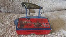 """Vintage Shakespeare Glo-Lite Pup Fishing Lure-2 1/2""""-Black/White/Red   (N 1)"""