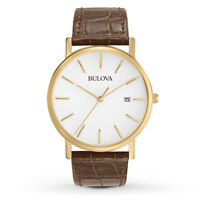 Bulova Men's Quartz Gold Tone Case Brown Leather Strap 37mm Watch 97B100