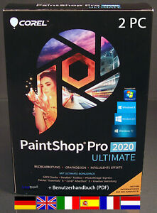 Corel PaintShop Pro 2020 Ultimate Vollversion 2 PC + Handbuch (PDF) Download NEU