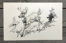 """Rare VINTAGE HUNTING EDUCATION POSTER Deer Stag Buck 11""""x17"""" Drawing"""