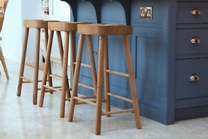 Solid Oak Kitchen Island Stool / LARGE Seat / 3 Sizes Available