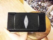 BLACK WHITE GENUINE STINGRAY LEATHER DIAMOND DESIGN CLUTCH TRIFOLD  WALLET NEW