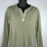 AIGLE Mens Sweater Henley Size M 100% Cotton Ribbed Knit Tan