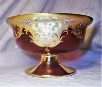 atq. Murano Czech Moser floral enamel encrusted ruby red 24K gold gilt bowl mint