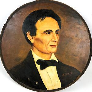 President Abraham Lincoln Painted Portrait Oil on Wood Folk Art by H. Klink 73