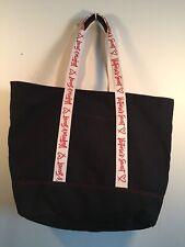 Victoria's Secret Large Black Cotton Canvas Tote Bag Weekender Carry-On