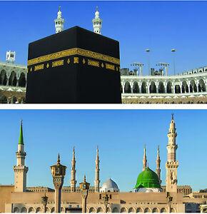 "HUGE Makkah & Madina Canvas set 60""x36"" x2 - Allah Muhammad Islam - NOW REDUCED!"