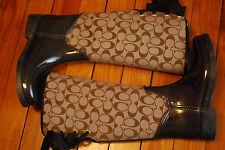 Women's Coach Signature Tristee Tan Corset Rain Boots (US 7B)