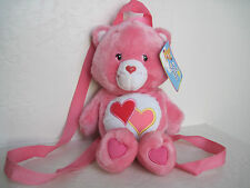 "13"" Care Bears ~ LOVE A LOT BACKPACK BEAR Plush Stuffed Animal"