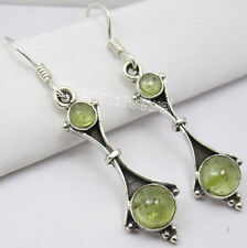 """Ancient Style Dangle Earrings 1.8"""" 925 Sterling Silver Green Peridot Cabochon"""