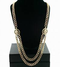 "Lion Head Necklace Gold Statement Cuban 28"" Chain Celebrity Fashion Heavy Metal"