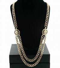 "Lion Head Necklace Gold Statement Double Cuban 28"" Chain Link Celebrity Fashion"