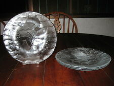 Kosta Boda Wahlstrom OCEAN DINNER PLATE 10 inch W- CLEAR Wave/Seashell 4 Pc