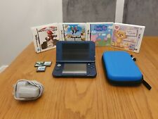 'New' Nintendo 3DS XL Metallic Blue Console With  Charger, Games & Case