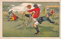 Cartolina - Postcard - Illustrata - Calcio - sgambetto in campo