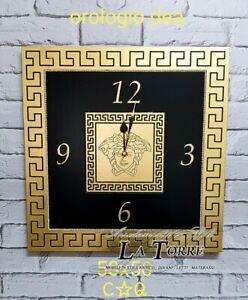 Orologio quadrato da parete Barocco moderno nero e oro Dea 50 cm