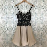 NWT Anthropologie Milly Black Lace Ballet Pink Silk Fit & Flare Party Dress 0
