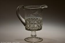 c. 1884 MASCOTTE by Ripley & Co CRYSTAL Fern Etched Cream Pitcher