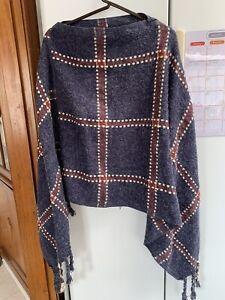 Bohemian Knit Poncho Plaid Batwing Tassels Shawl Cape Sweater Cloak Fringes Blue
