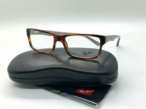 NEW RAY BAN EYEGLASSES RB 5245 5607 STRIPPED BROWN 52-17-140MM /CASE