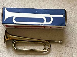 Vintage US Regulation Bugle with Mouthpiece in Original Box