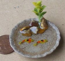 1:12 Scale Round Stoneware Pond With 2 Koi Carp Dolls House Garden Accessory