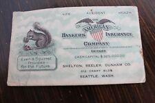 1920's American Bankers Insurance Company Card Squirrel Logo Ephemera Seattle Wa