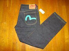 Evisu Classic Straight Leg Jeans/ Size 36x32/ Dark Indigo - Green