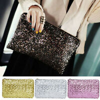Worth while Women Sequins Dazzling Glitter Bling Evening Clutch Bag Handbag W PQ