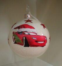 Pallina Natale CARS SAETTA Disney Vetro Decorata a Mano Decorazione Rosso Bianco