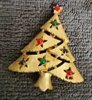 Vintage EISENBERG ICE goldtone Christmas Tree Brooch Pin