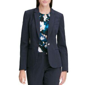 CALVIN KLEIN NEW Women's Pinstripe Career One-button Blazer Jacket Top 14 TEDO