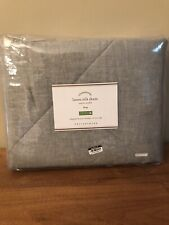 1 POTTERY BARN KING LINEN SILK SHAM FLAGSTONE GRAY QUILTED