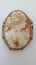 Big Antique Victorian 14K Gold Hand-Carved Cameo Pin Pendant Goddess Flora