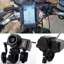 Motorcycle Waterproof 12V USB Port Outlet Socket Charger For Phone GPS Sat Nav
