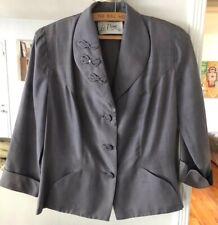 Vtg 40s Le Vine Silver Raw Silk Rhinestone Bow Cuff Nipped Waist Jacket Blazer M