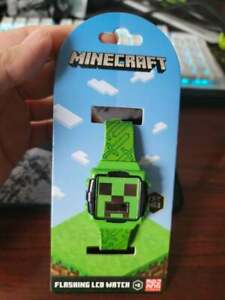 MINECRAFT GREEN CREEPER LCD FLASHING ICON & DIAL WATCH adjustable new